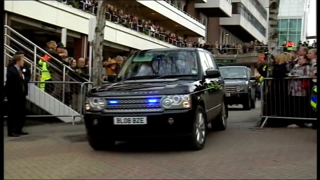 cheltenham gold cup car carrying queen arriving at event queen elizabeth ii meeting racecourse officials and queen in special enclosure chatting with... - enclosure stock videos & royalty-free footage