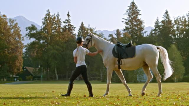 stockvideo's en b-roll-footage met slo mo ds paard paardrijden instructeur haar paard wandelen in het park van de school - alleen één mid volwassen vrouw