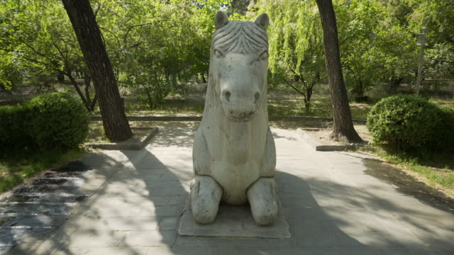 horse sculpture on the sacred way of ming dynasty tombs - beijing, china - ming tombs stock videos and b-roll footage