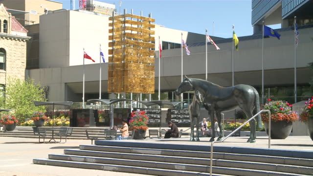 ws horse statues at square  / calgary, alberta, canada - animal representation stock videos and b-roll footage