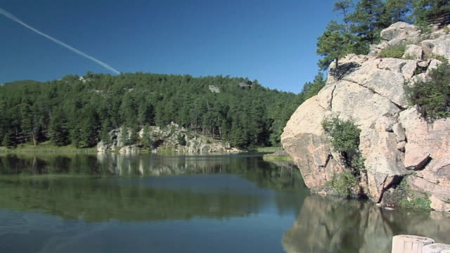 ws pan horse thief lake surrounded with forest, south dakota, usa - south dakota stock-videos und b-roll-filmmaterial