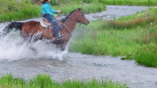 Horseback Riders Kicking Up Spray in River