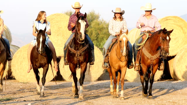horseback riders on ranch - all horse riding stock videos & royalty-free footage