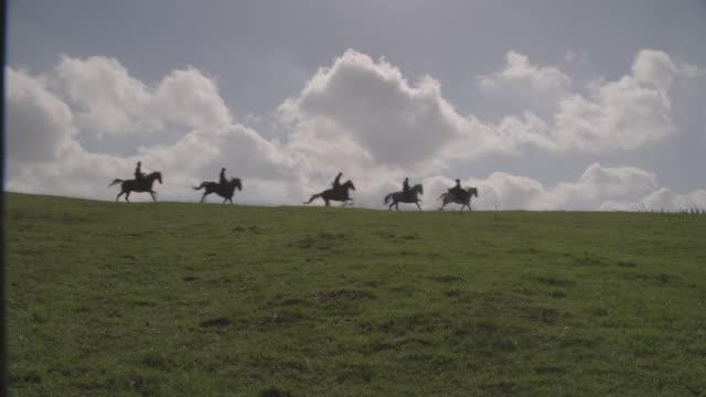 horseback riders ride through the english countryside. - galoppieren stock-videos und b-roll-filmmaterial