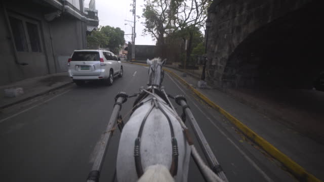 horse-drawn carriage at intramuros spanish colonial city of manila, philippines. stabilized shot personal perspective - horsedrawn stock videos & royalty-free footage