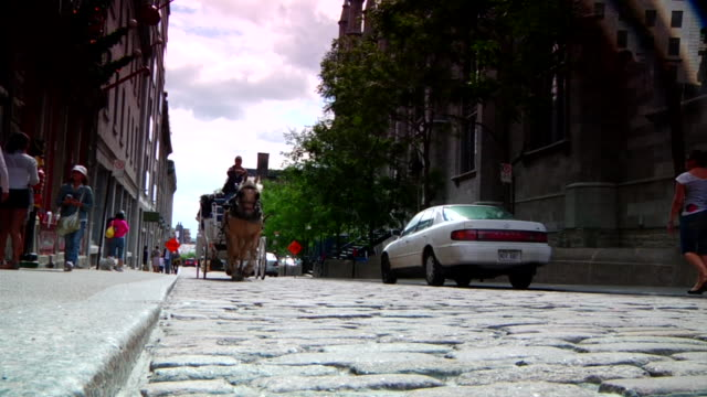 horse-drawn carriage moves up cobblestone street and walks up on sidewalk as it passes by camera - horsedrawn stock videos & royalty-free footage