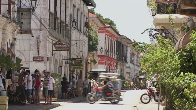 horse-drawn carriage on the street, vigan, philippines - philippines stock videos & royalty-free footage