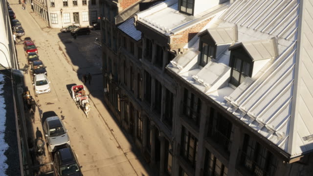 horse-drawn carriage passing through street in old montreal from above - vieux montréal stock-videos und b-roll-filmmaterial