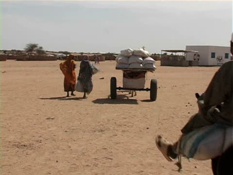 Horsedrawn cart and children on donkeys moving away from camera / Chad / AUDIO