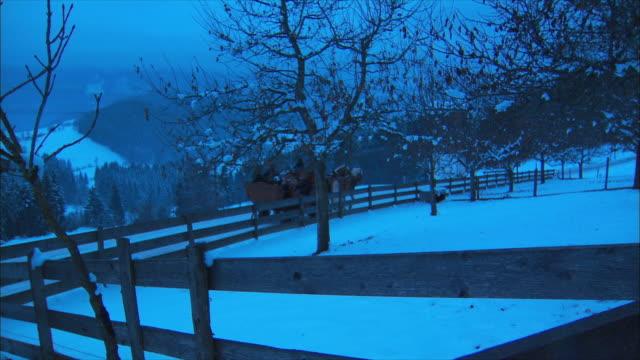 WS Horse-drawn sleigh ride in snowy village / Near Salzburg, Austria