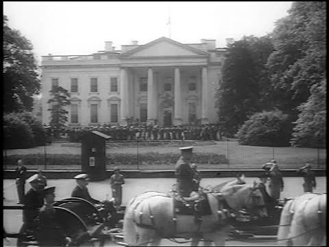 b/w 1945 horsedrawn wagon with casket passes by white house / fdr's funeral procession / newsreel - herbivorous stock videos & royalty-free footage