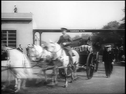 b/w 1945 horsedrawn wagon with fdr's coffin flanked by officers exits union station / washington - herbivorous stock videos & royalty-free footage