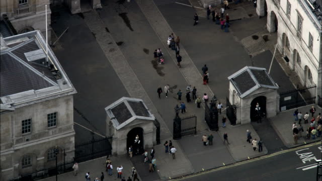 horseguards  - aerial view - england, greater london, city of westminster, united kingdom - whitehall london stock videos & royalty-free footage