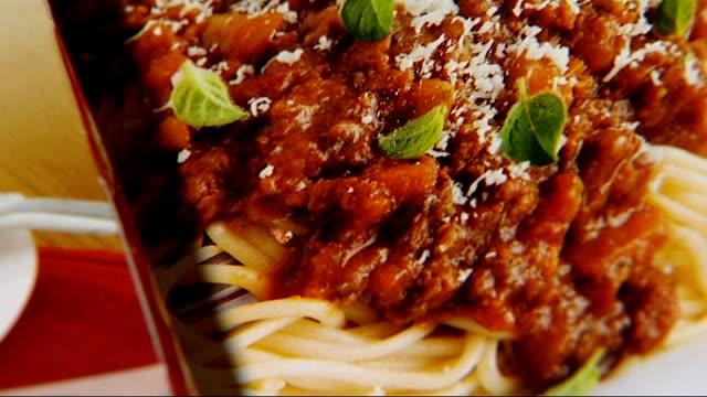 birds eye and sodexo withdraw beef products england london int close shot 'birds eye' logo on product pan across birds eye products which have been... - spaghetti bolognese stock videos & royalty-free footage