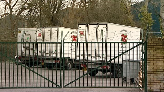 councils in wales withdraw meat products from schools and care homes wales ext welsh bros lorries inside depot sign on side of lorry 'welsh bros... - 馬肉点の映像素材/bロール