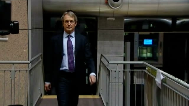 european ministers call for testing belgium brussels owen paterson towards up stairs owen paterson mp interview sot determined to get to the bottom... - owen paterson stock videos and b-roll footage