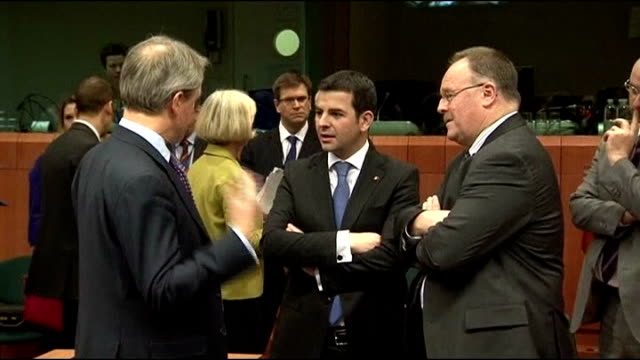 european ministers call for testing via reuters belgium brussels int owen paterson mp shaking hands with man at european union ministers meeting... - owen paterson stock videos and b-roll footage