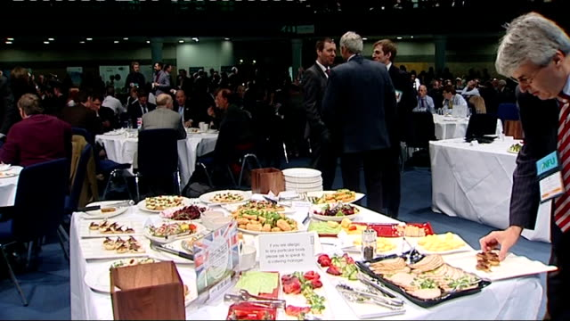 farmers' leaders blame supermarkets for putting price pressure on suppliers england west midlands birmingham nfu conference int delegates sitting at... - 馬肉点の映像素材/bロール