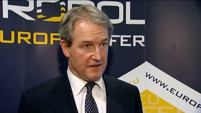 paterson comments netherlands the hague europol int owen paterson mp along owen paterson mp interview sot talks of europol being brought in to... - owen paterson stock videos and b-roll footage