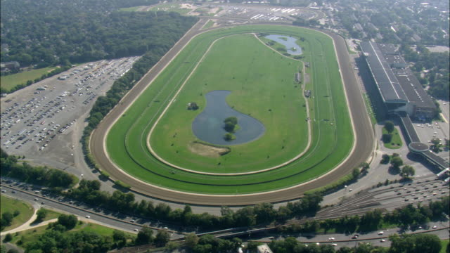 aerial horse-racing track at belmont park / elmont, new york, usa - horseracing track stock videos and b-roll footage