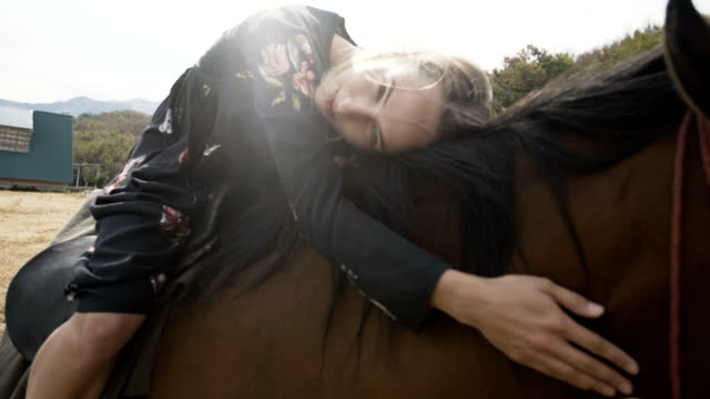 horseriding in idylic surroundings - recreational horse riding stock videos and b-roll footage
