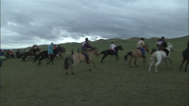 horses begin race at naadam horse festival, - galopp gangart von tieren stock-videos und b-roll-filmmaterial