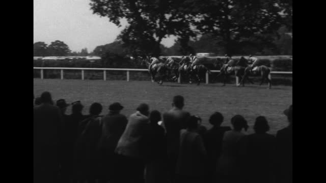 wv horses being led onto racecourse for royal gold cup race at ascot racecourse / closer view of horse and jockey / queen elizabeth ii and sister... - hurdling horse racing stock videos and b-roll footage