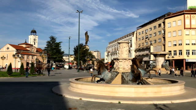 horses fountain in macedonia square on september 28 2018 in skopje macedonia macedonians will go to the polls sunday to vote in a referendum to... - macedonia country stock videos and b-roll footage