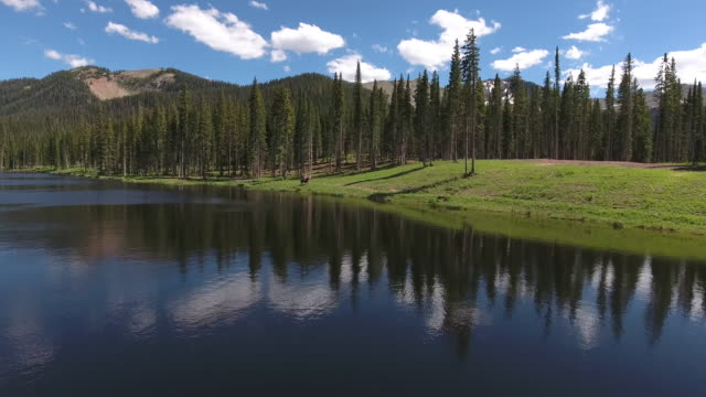 Horses over water fly to, Rocky Mountains Reveal Fall colors Lake Reflection, Off road, rzr Wildlife, Foliage SHORT Aerial, 4K, 7s, 51of102, Stock Video Sale - Drone Discoveries - Drone Aerial View