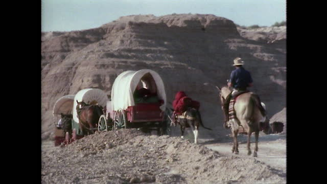 ws horses pull covered wagons through texas desert; 1979 - 外乗点の映像素材/bロール