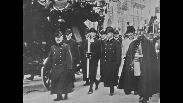 horses pulling casket carriage of franz joseph on vienna street young otto walking in funeral cortege w/ zita karl otto on porch w/ other children - 1916 stock videos & royalty-free footage