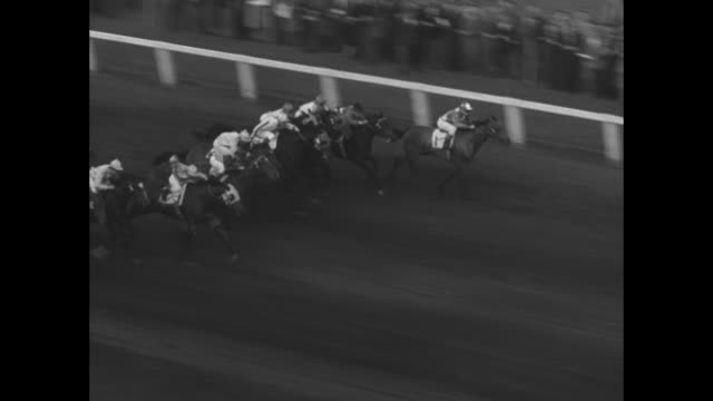 horses race down track at long branch race track / crowd shot/ horses on way to start / canadiana is led down track / crowd shot / horses race out of... - saucer stock videos & royalty-free footage