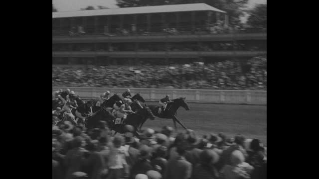 horses race off from starting line / horses racing past stands / horses race past landscaped grounds / king george v, queen mary, queen alexandra and... - イギリス アスコット競馬場点の映像素材/bロール