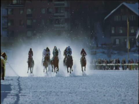 horses race on snow track saint moritz - pferderennen stock-videos und b-roll-filmmaterial