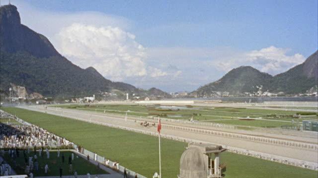 WS POV Horses racing on track  / Rio De Janero, Brazil