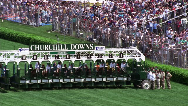 horses wait at the starting gates at churchill downs in kentucky. available in hd. - starting gate stock videos and b-roll footage