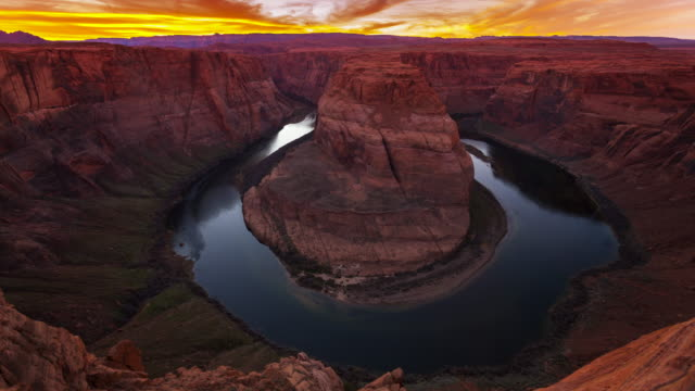 horseshoe bend, colorado river, page, arizona - timelapse - page arizona stock videos and b-roll footage