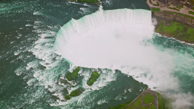 aerial horseshoe falls from the brother island in ny, usa - river niagara stock videos & royalty-free footage