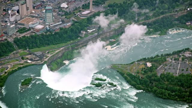 aerial horseshoe falls on the niagara river - river niagara stock videos & royalty-free footage