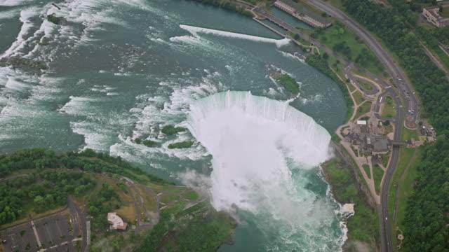aerial horseshoe falls viewed from goat island, ny - river niagara stock videos & royalty-free footage