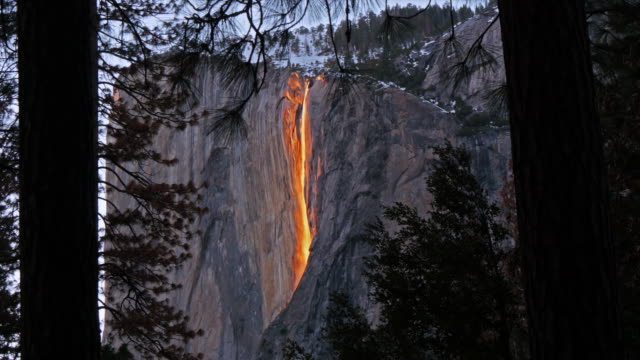 horsetail falls illuminated by sunset, yosemite, california, united states - yosemite national park stock-videos und b-roll-filmmaterial
