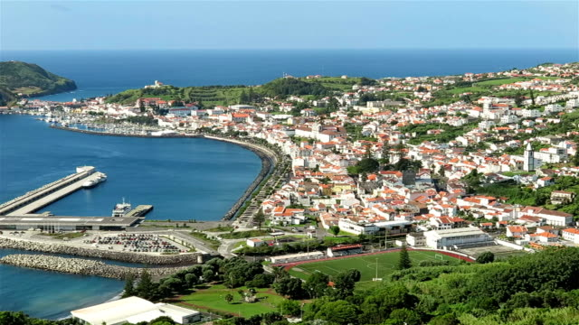 horta and horta bay, faial island - azores - escuro stock videos & royalty-free footage