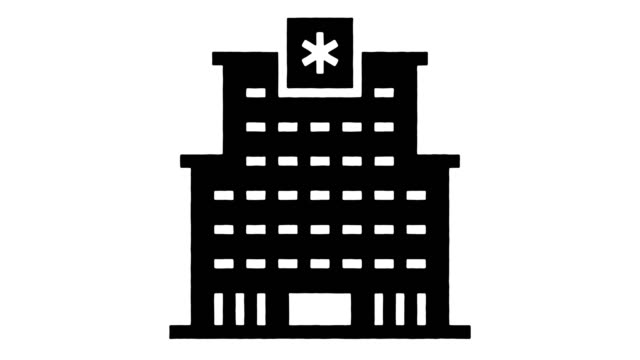 hospital automation line drawing & ink splatter animation with alpha - politics icon stock videos & royalty-free footage