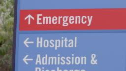 Hospital emergency admission sign.