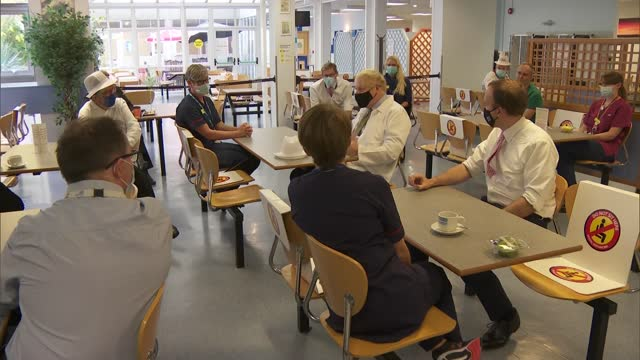 boris johnson visits royal berkshire hospital; england: berkshire: reading: royal berkshire hospital: int various of boris johnson mp sitting and... - prudence leith stock videos & royalty-free footage
