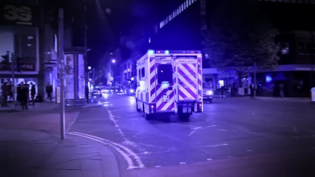 Hospital prepare for possibility of further terror attack 2252017 Manchester SEQUENCE various of Ambulances attending aftermath of Manchester Arena...