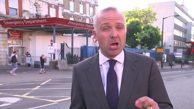 hospital prepare for possibility of further terror attack london reporter to camera/ vox pops/ gv king's college hospital entrance with ambualnce... - richard pallot stock-videos und b-roll-filmmaterial