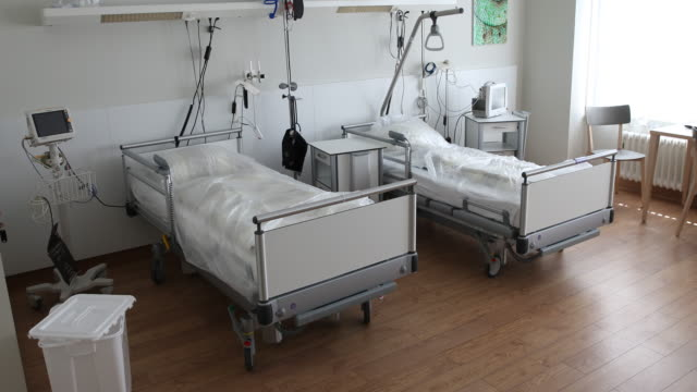 hospital room prepared for covid-19 patients in the evangelische elisabeth klinik during the novel coronavirus crisis on april 23, 2020 in berlin,... - bed stock videos & royalty-free footage