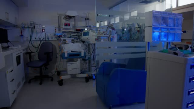 hospital ward for prematurely born infants with ultraviolet lighting - hospital ward stock videos & royalty-free footage