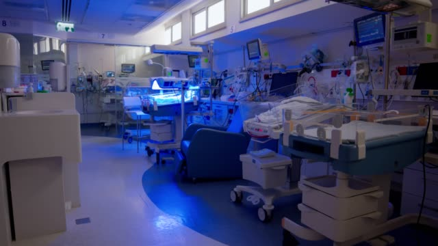 hospital ward for prematurely born infants with ultraviolet lighting - ward stock videos & royalty-free footage